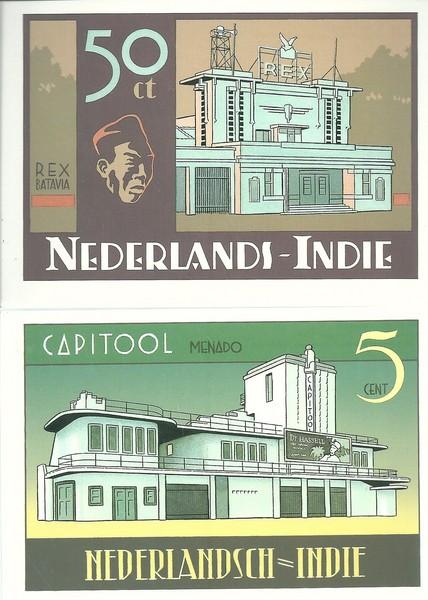 Peter van Dongen set van 4 postkaarten Nederlands-Indie Rampokan-0