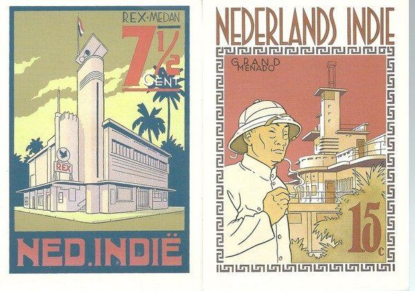 Peter van Dongen set van 4 postkaarten Nederlands-Indie Rampokan-3759